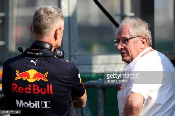 Red Bull Racing Team Manager Jonathan Wheatley talks with Red Bull Racing Team Consultant Dr Helmut Marko during qualifying for the F1 Grand Prix of...