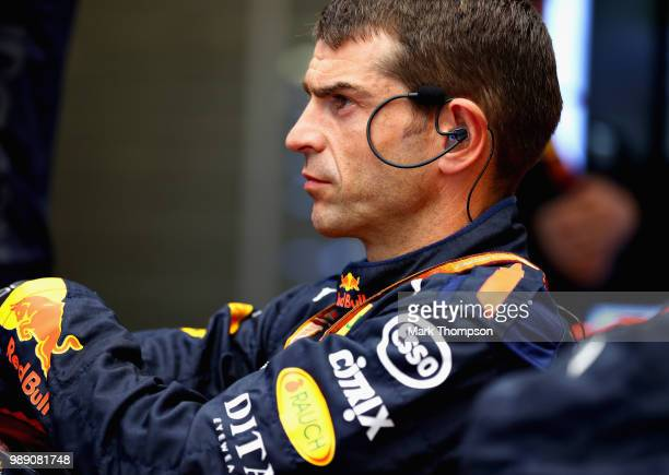Red Bull Racing team member looks on in the garage during the Formula One Grand Prix of Austria at Red Bull Ring on July 1 2018 in Spielberg Austria
