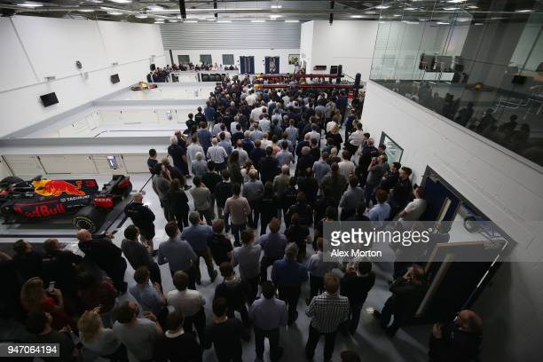 Red Bull Racing team principal Christian Horner adresses the team at the Red Bull Racing factory on April 16 2018 in Milton Keynes England