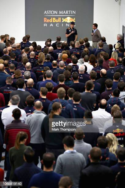 Red Bull Racing Team Principal Christian Horner and Max Verstappen of Netherlands and Red Bull Racing talk to the Red Bull Racing team during the Red...
