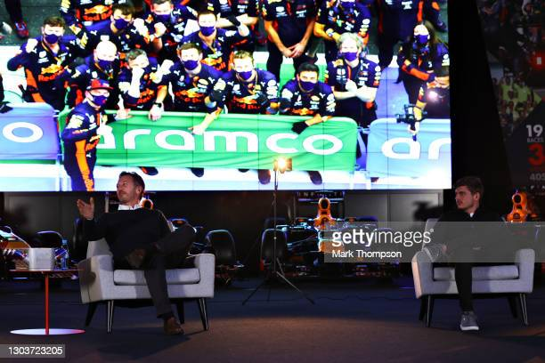 Red Bull Racing Team Principal Christian Horner and Max Verstappen of Netherlands and Red Bull Racing talk during An Evening with Red Bull Racing at...
