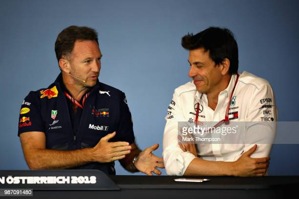 Red Bull Racing Team Principal Christian Horner and Mercedes GP Executive Director Toto Wolff in the Team Principals Press Conference during practice...