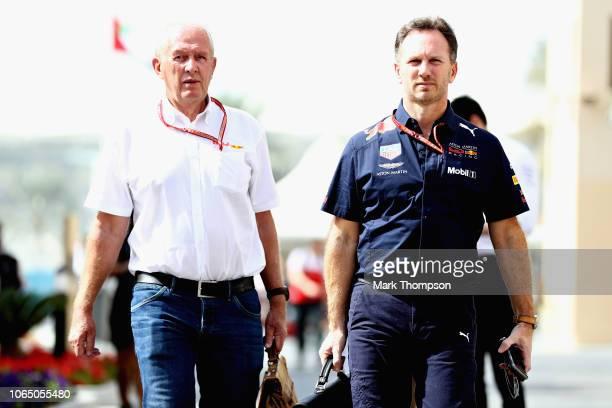 Red Bull Racing Team Principal Christian Horner and Red Bull Racing Team Consultant Dr Helmut Marko walk in the Paddock before the Abu Dhabi Formula...