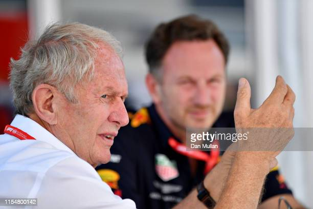 Red Bull Racing Team Principal Christian Horner and Red Bull Racing Team Consultant Dr Helmut Marko talk in the Paddock before the F1 Grand Prix of...