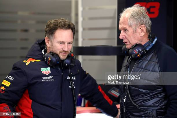 Red Bull Racing Team Principal Christian Horner and Red Bull Racing Team Consultant Dr Helmut Marko talk in the garage during day one of Formula 1...