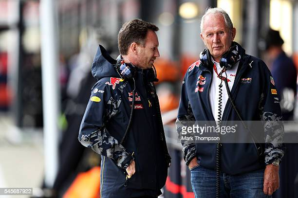 Red Bull Racing Team Principal Christian Horner and Red Bull Racing Team Consultant Dr Helmut Marko in the Pitlane during qualifying for the Formula...