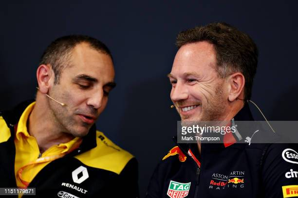 Red Bull Racing Team Principal Christian Horner and Renault Sport F1 Managing Director Cyril Abiteboul talk in the Team Principals Press Conference...