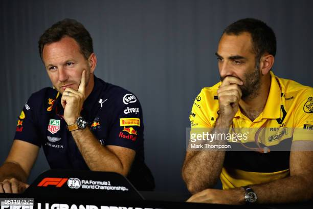 Red Bull Racing Team Principal Christian Horner and Renault Sport F1 Managing Director Cyril Abiteboul in the Team Principals Press Conference during...
