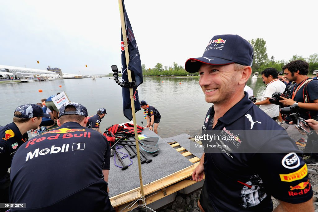 Red Bull Racing Team Principal Christian Horner and the Red Bull Racing at the raft race after qualifying for the Canadian Formula One Grand Prix at Circuit Gilles Villeneuve on June 10, 2017 in Montreal, Canada.