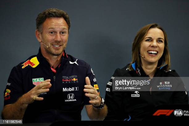 Red Bull Racing Team Principal Christian Horner and Williams Deputy Team Principal Claire Williams talk in the Team Principals Press Conference...