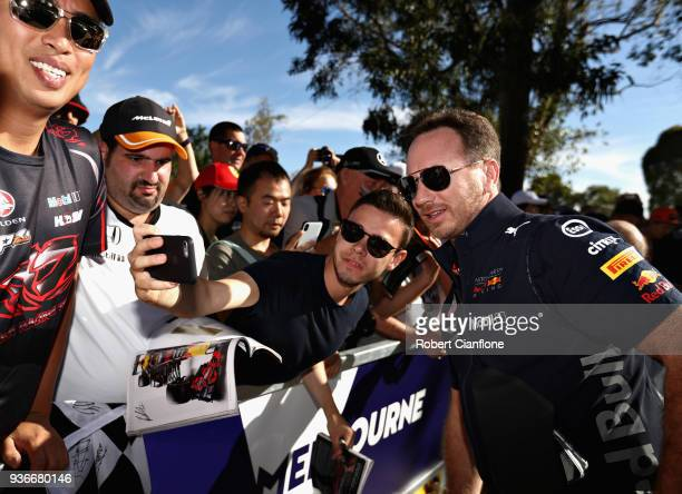 Red Bull Racing Team Principal Christian Horner arrives at the circuit and poses for a photo before practice for the Australian Formula One Grand...