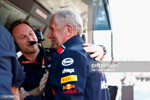 Red Bull Racing Team Principal Christian Horner celebrates with Red Bull Racing Team Consultant Dr Helmut Marko after the F1 Grand Prix of Australia...