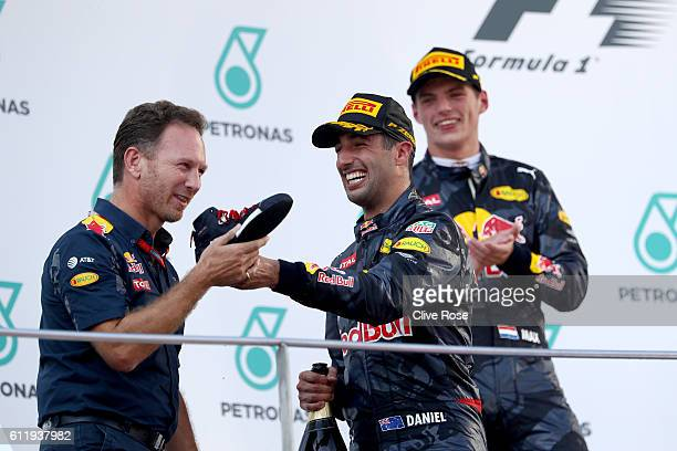Red Bull Racing Team Principal Christian Horner Daniel Ricciardo of Australia and Red Bull Racing and Max Verstappen of Netherlands and Red Bull...