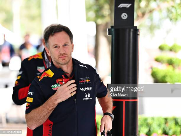 Red Bull Racing Team Principal Christian Horner enters the paddock before practice for the F1 Grand Prix of Australia at Melbourne Grand Prix Circuit...
