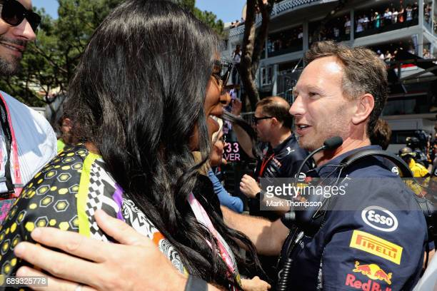 Red Bull Racing Team Principal Christian Horner greets tennis superstar Serena Williams on the grid during the Monaco Formula One Grand Prix at...