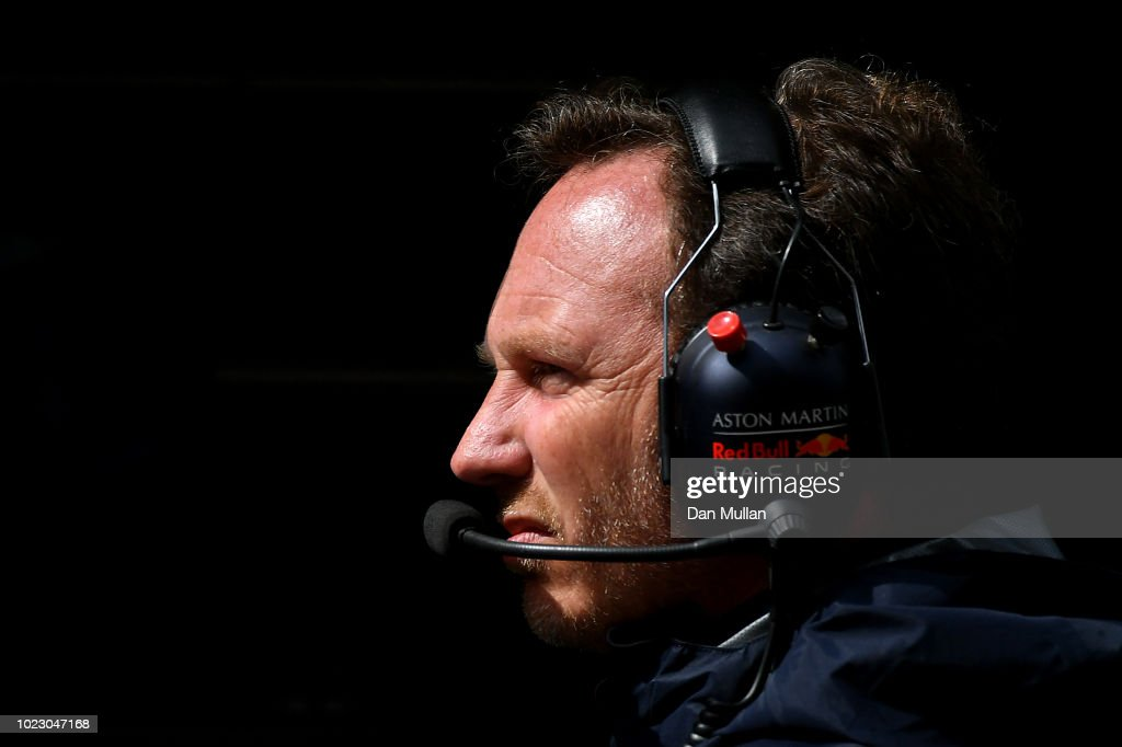 Red Bull Racing Team Principal Christian Horner looks on during final practice for the Formula One Grand Prix of Belgium at Circuit de Spa-Francorchamps on August 25, 2018 in Spa, Belgium.