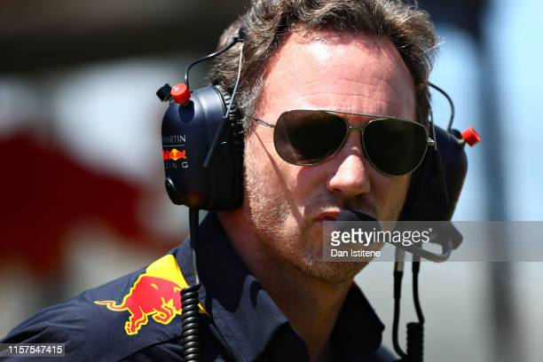 Red Bull Racing Team Principal Christian Horner looks on from the pitwall during final practice for the F1 Grand Prix of France at Circuit Paul...