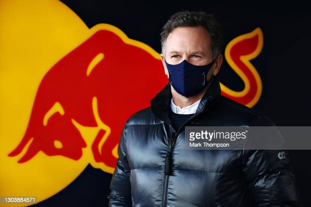 Red Bull Racing Team Principal Christian Horner looks on in the garage during the Red Bull Racing Filming Day at Silverstone on February 24, 2021 in...