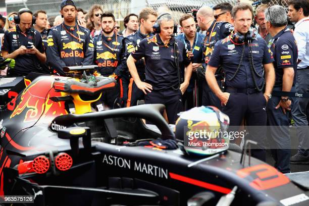 Red Bull Racing Team Principal Christian Horner looks on on the grid before the Monaco Formula One Grand Prix at Circuit de Monaco on May 27 2018 in...