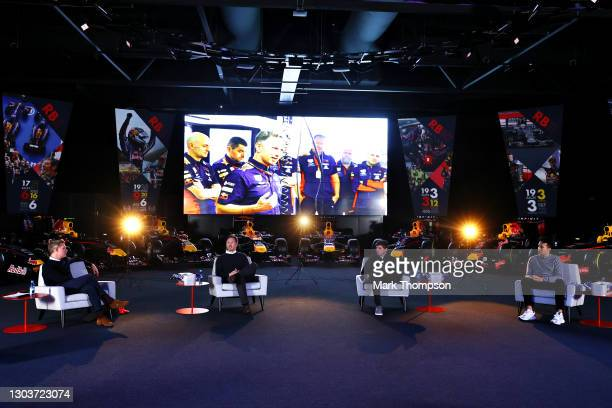 Red Bull Racing Team Principal Christian Horner, Max Verstappen of Netherlands and Red Bull Racing and Alexander Albon of Thailand and Red Bull...