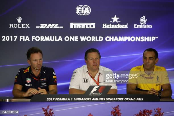 Red Bull Racing Team Principal Christian Horner McLaren Executive Director Zak Brown and Renault Sport F1 Managing Director Cyril Abiteboul in a...