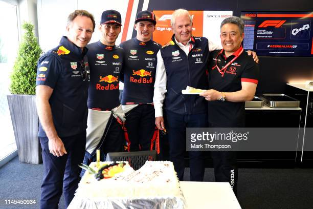 Red Bull Racing Team Principal Christian Horner, Pierre Gasly of France and Red Bull Racing, Max Verstappen of Netherlands and Red Bull Racing Red...