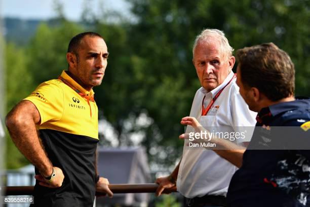 Red Bull Racing Team Principal Christian Horner Red Bull Racing Team Consultant Dr Helmut Marko and Renault Sport F1 Managing Director Cyril...