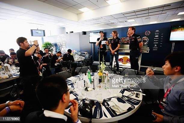 Red Bull Racing Team Principal Christian Horner talks in the team hospitality suite following qualifying for the Chinese Formula One Grand Prix at...