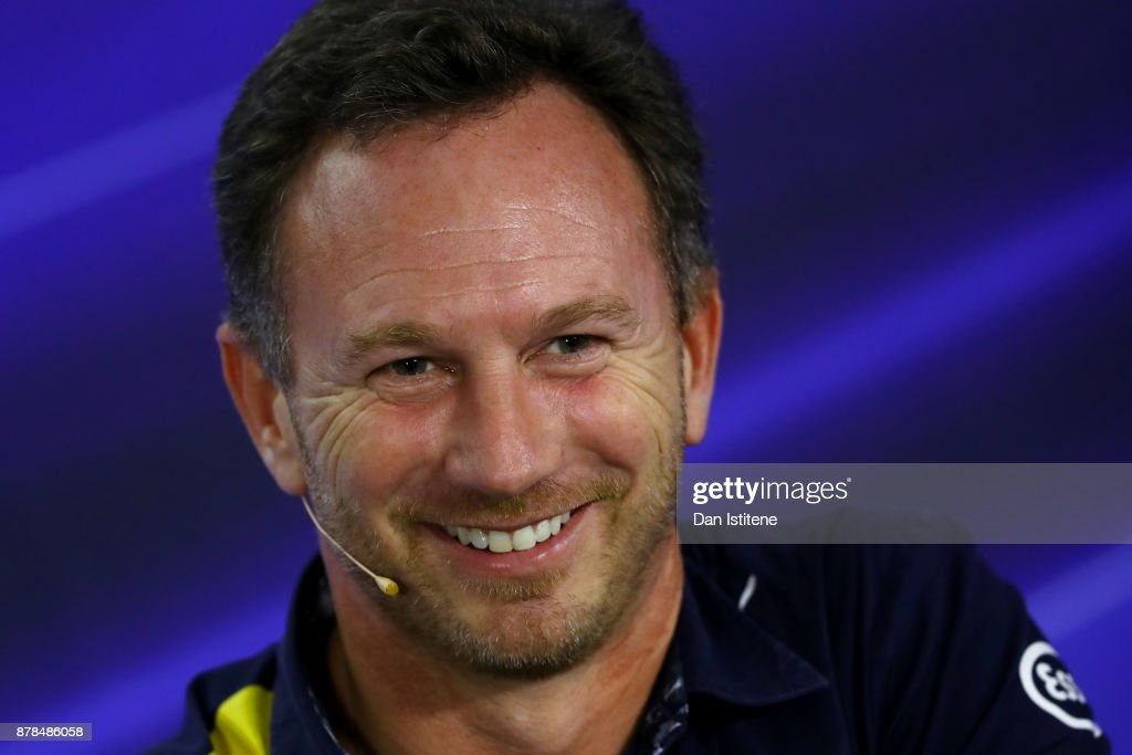 Red Bull Racing Team Principal Christian Horner talks in the Team Principals Press Conference after practice for the Abu Dhabi Formula One Grand Prix at Yas Marina Circuit on November 24, 2017 in Abu Dhabi, United Arab Emirates.