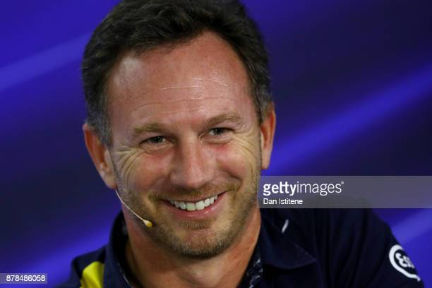Red Bull Racing Team Principal Christian Horner talks in the Team Principals Press Conference after practice for the Abu Dhabi Formula One Grand Prix...