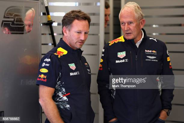 Red Bull Racing Team Principal Christian Horner talks with Red Bull Racing Team Consultant Dr Helmut Marko in the garage during practice for the...