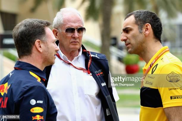 Red Bull Racing Team Principal Christian Horner talks with Red Bull Racing Team Consultant Dr Helmut Marko and Renault Sport F1 Managing Director...