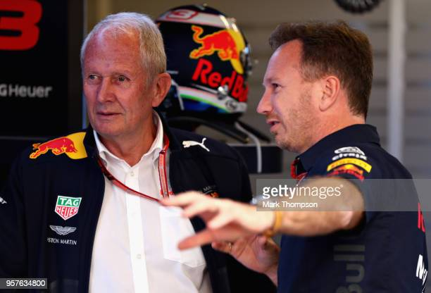 Red Bull Racing Team Principal Christian Horner talks with Red Bull Racing Team Consultant Dr Helmut Marko in the garage during final practice for...
