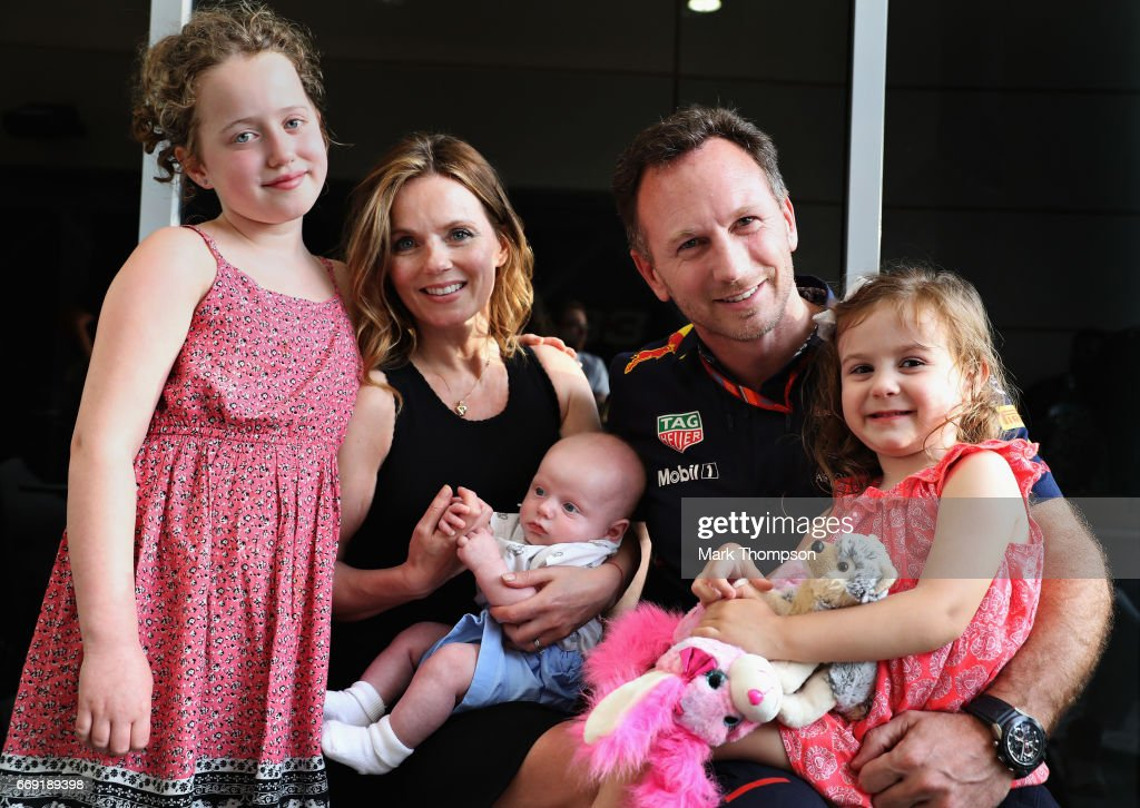 Red Bull Racing Team Principal Christian Horner with his wife Geri Horner and their children (left) Bluebell, (centre) Montague and (right) Olivia in the Paddock before the Bahrain Formula One Grand Prix at Bahrain International Circuit on April 16, 2017 in Bahrain, Bahrain.
