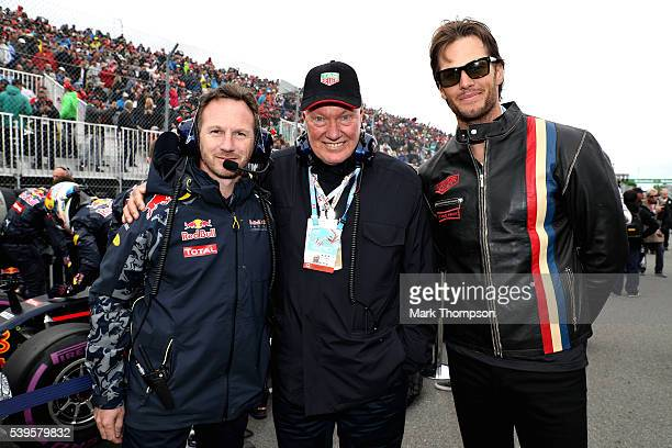Red Bull Racing Team Principal Christian Horner with TAG Heuer CEO JeanClaude Biver and NFL star Tom Brady on the grid before the the Canadian...