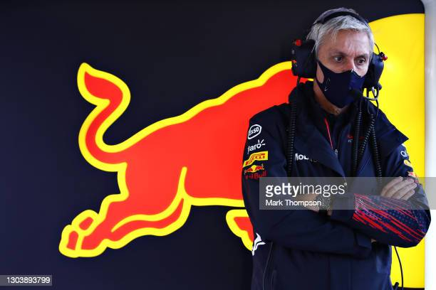 Red Bull Racing Test Team Manager Tony Burrows looks on in the garage during the Red Bull Racing Filming Day at Silverstone on February 24, 2021 in...