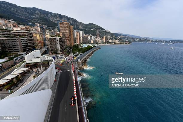 Red Bull Racing's Australian driver Daniel Ricciardo competes during the Monaco Formula 1 Grand Prix at the Monaco street circuit on May 27, 2018 in...