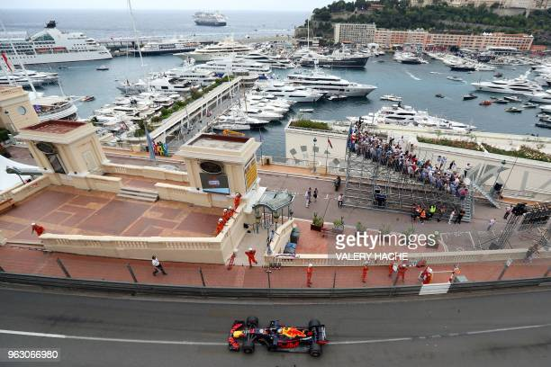 Red Bull Racing's Australian driver Daniel Ricciardo competes during the Monaco Formula 1 Grand Prix at the Monaco street circuit on May 27 2018 in...