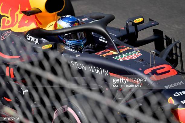 Red Bull Racing's Australian driver Daniel Ricciardo competes to win the pole position during the qualifying session at the Monaco street circuit on...