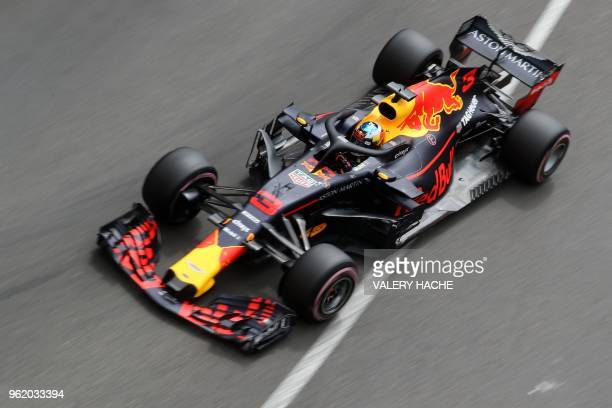 Red Bull Racing's Australian driver Daniel Ricciardo drives during the first practice session at the Monaco street circuit on May 24, 2018 in Monaco,...