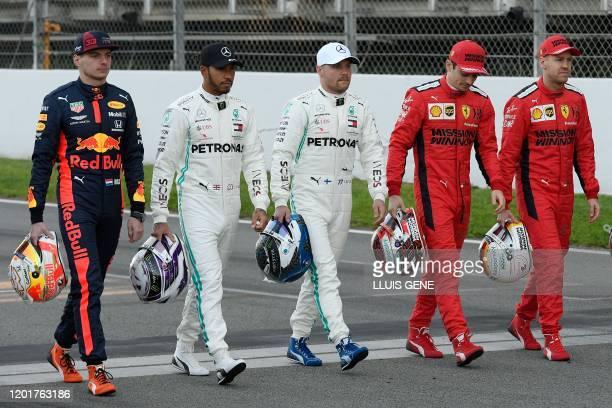 Red Bull Racing's Belgian driver Max Verstappen Mercedes' British driver Lewis Hamilton Mercedes' Finnish driver Valtteri Bottas Ferrari's Monegasque...
