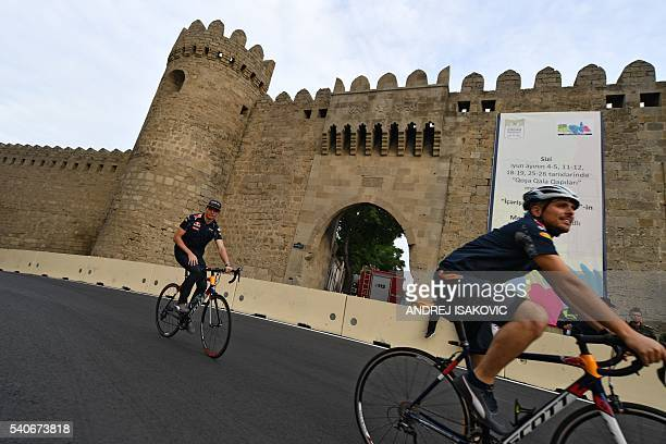 Red Bull Racing's Dutch driver Max Verstappen cycles along the track at the Baku City Circuit on June 16 2016 in Baku three days ahead of the...