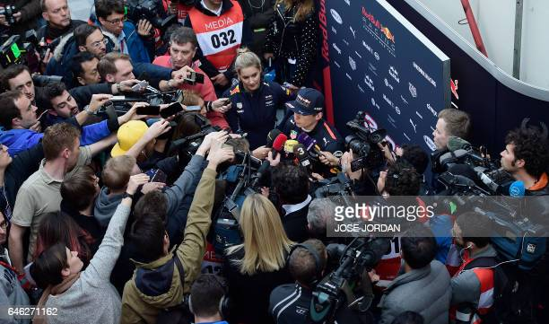 Red Bull Racing's Dutch driver Max Verstappen speaks with journalists at the Circuit de Catalunya on February 28 2017 in Montmelo on the outskirts of...