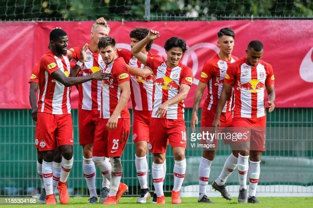 Red Bull Salzburg celebrate the goal of Erling Haaland of Red Bull Salzburg during the Pre-season Friendly match between FC Red Bull Salzburg and...