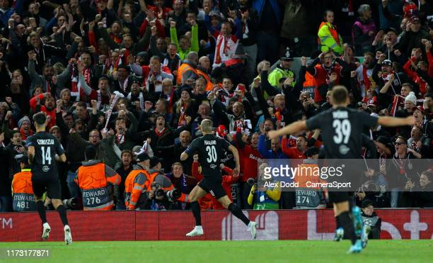 Red Bull Salzburg's Erling Haland celebrates scoring his side's equalising goal to make the score 33 during the UEFA Champions League group E match...