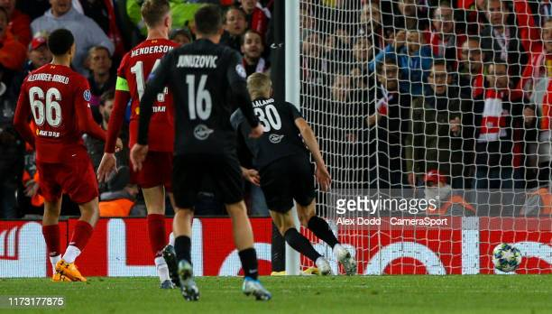 Red Bull Salzburg's Erling Haland scores his side's equalising goal to make the score 33 during the UEFA Champions League group E match between...
