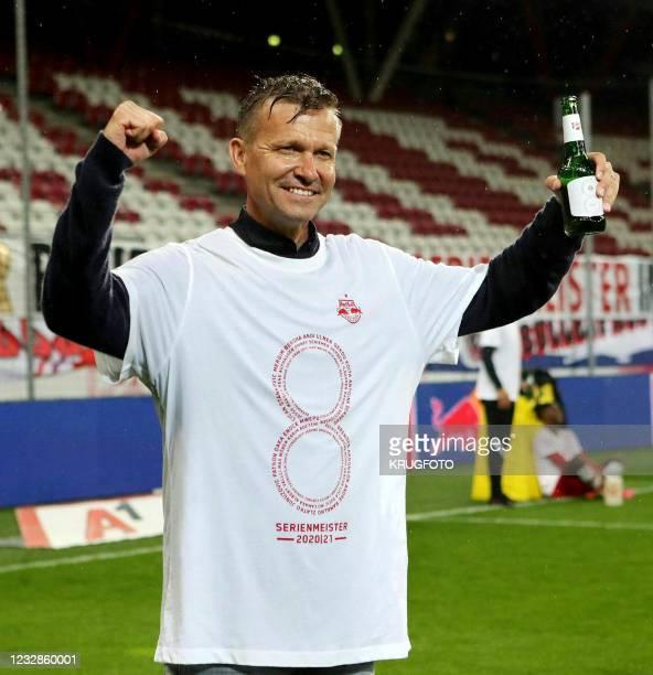 Red Bull Salzburg's head coach Jesse Marsch celebrates after winning the title after the Austrian Bundesliga football between FC Red Bull Salzburg v...