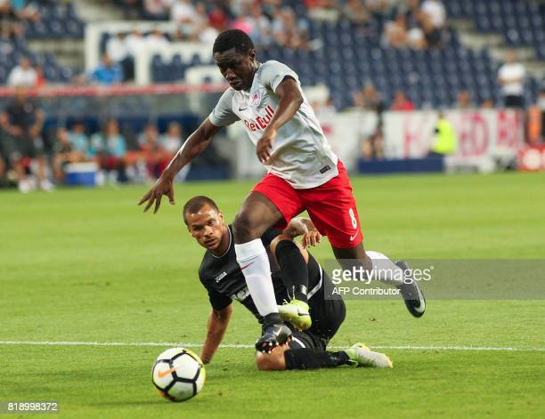 Red Bull Salzburg's Malian midfielder Diadie Samassekou runs to score his team's second goal during the Champions League qualification football match...