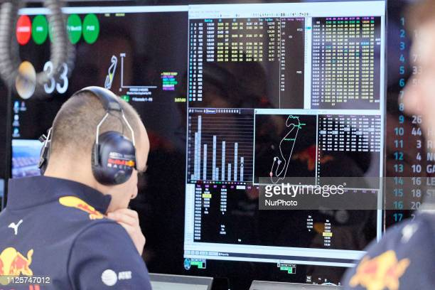 Red Bull team during the winter test days at the Circuit de Catalunya in Montmelo February 18 2019