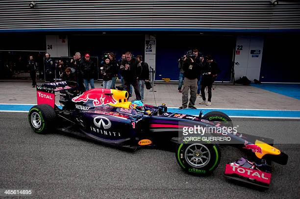 Red Bull team's German driver Sebastian Vettel in a newly revealed RB10 takes part in the Formula One preseason test days at Jerez racetrack in Jerez...